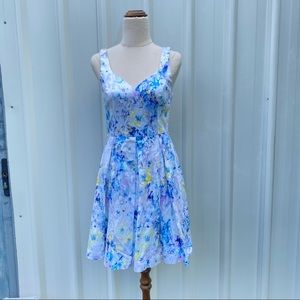 Forever New A-line Pleated Floral Dress Pastel Cocktail Party